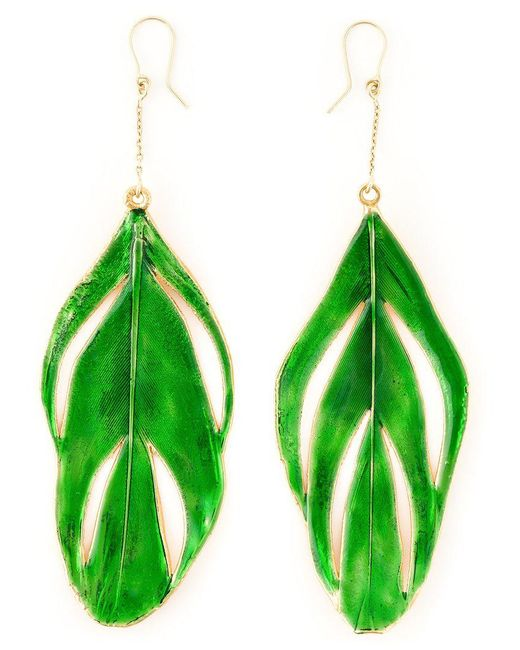 Aurelie Bidermann - Green 'swan' Feather Earrings - Lyst