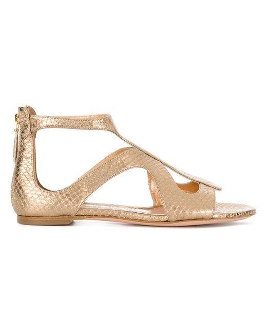 Alexander McQueen - Metallic Strappy Sandals - Lyst