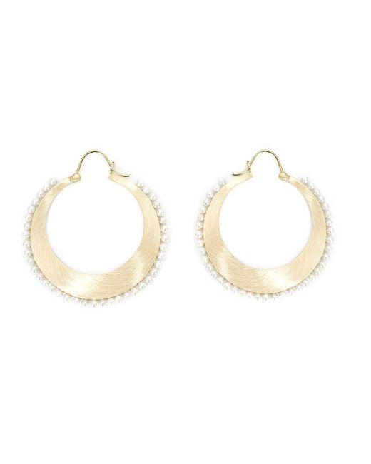 Irene Neuwirth - Yellow Pearl Studded Hoop Earrings - Lyst
