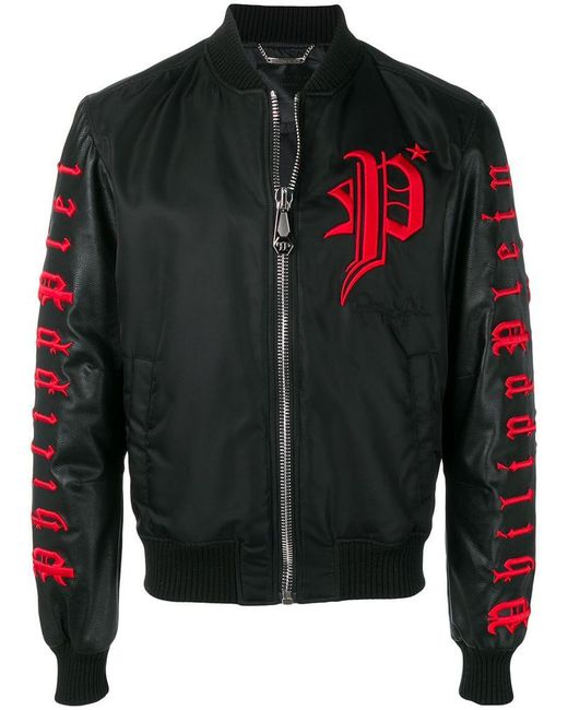 c54f29c377 Philipp Plein - Black Logo Embroidered Bomber Jacket for Men - Lyst ...
