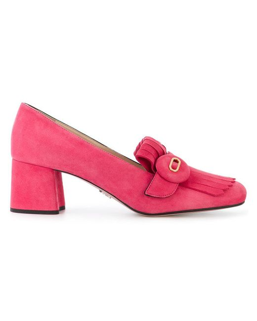 Prada - Pink Button-embellished Loafers - Lyst