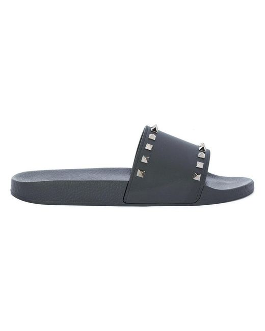 465c12beb7ee Lyst - Valentino Rockstud Pool Slides in Black for Men - Save 49%