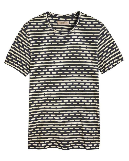 Burberry - Blue Spot And Stripe Print T-shirt for Men - Lyst