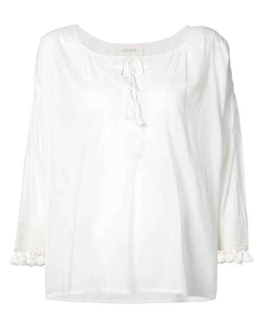 The Great - White Pom Pom Detail Blouse - Lyst