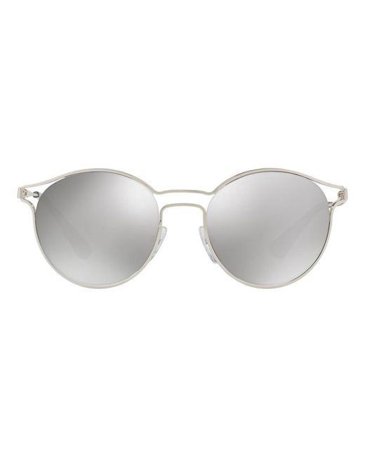 Prada - Metallic Round Metal Open-inset Sunglasses - Lyst