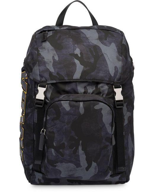 a230b8d44779 Prada - Black Printed Technical Fabric Backpack for Men - Lyst ...