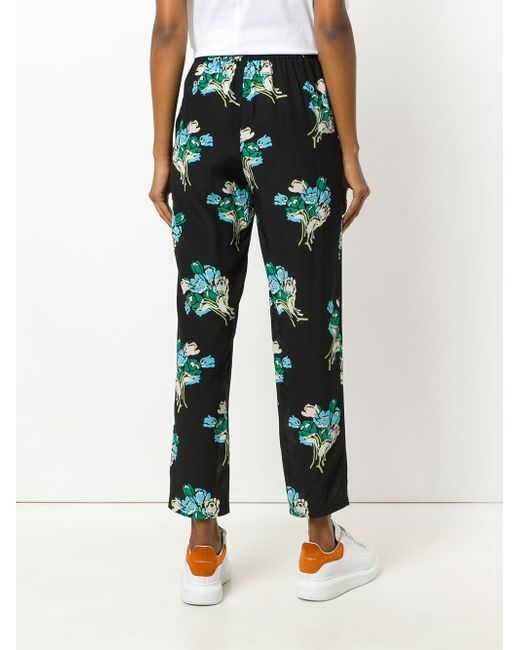 floral print trousers - Black Red Valentino tw8I2w