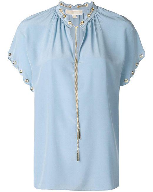 MICHAEL Michael Kors - Blue Short Sleeved Blouse - Lyst