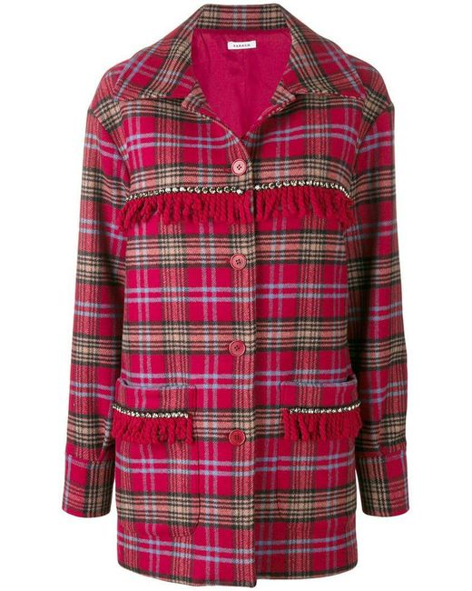 P.A.R.O.S.H. - Red Fringed Tartan Coat - Lyst