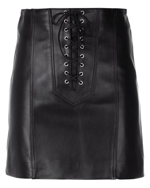 Manokhi | Black Short Lace-up Skirt | Lyst