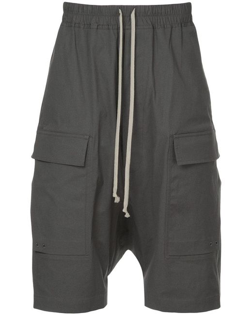 Rick Owens - Gray Drop Crotch Cargo Shorts for Men - Lyst