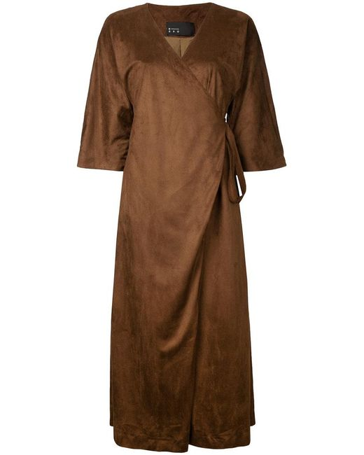 N-Duo - Brown Wrap Dress - Lyst
