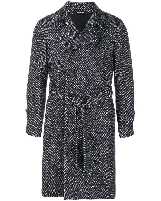 Tagliatore | Blue Belted Woven Coat for Men | Lyst