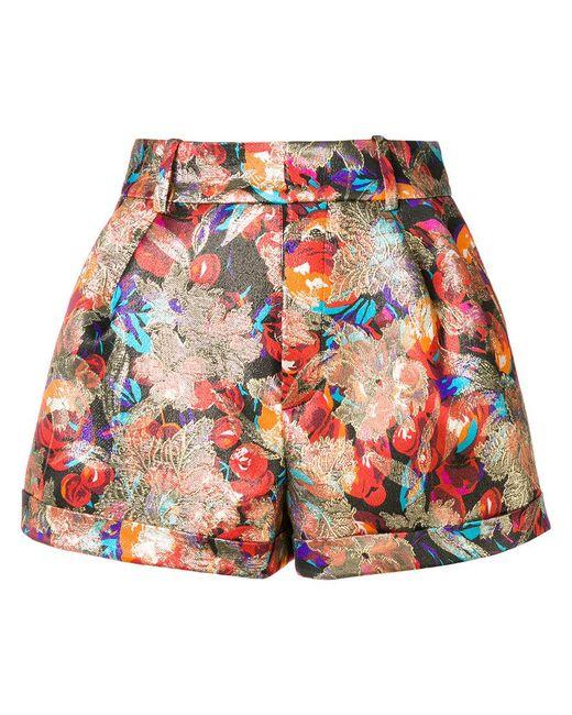 Saint Laurent - Red Jacquard Shorts - Lyst