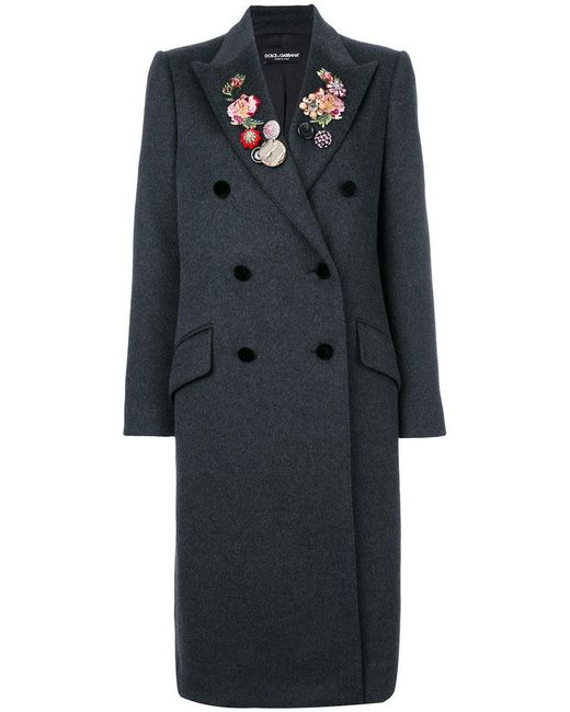 Dolce & Gabbana - Gray Floral And Gem Detailed Double Breasted Coat - Lyst