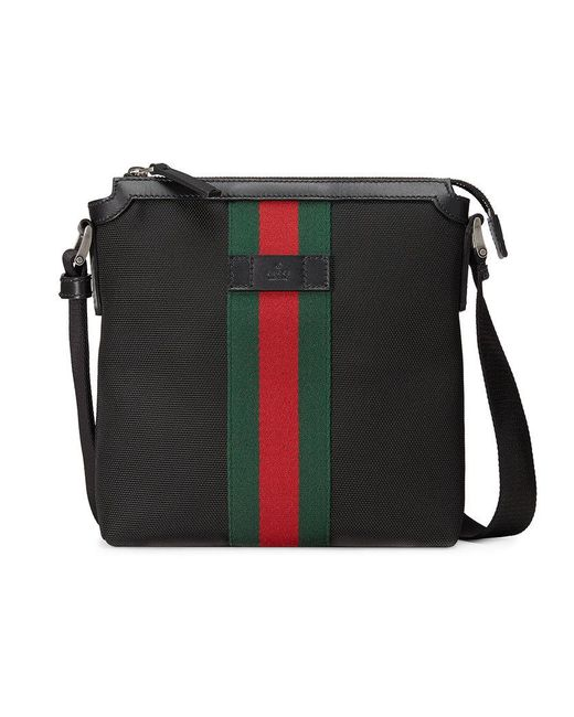 Gucci | Black Techno Canvas Messenger With Web for Men | Lyst
