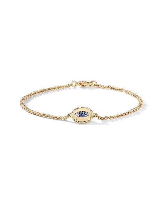 David Yurman - Metallic 18kt Yellow Gold Cable Collectibles Diamond And Sapphire Evil Eye Charm Bracelet - Lyst