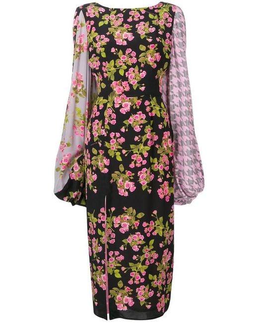 Natasha Zinko - Black Floral Long-sleeve Dress - Lyst