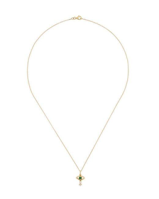 Ileana Makri - Metallic 18kt Yellow Gold Tiny Eye Emerald And Diamond Pendant Necklace - Lyst