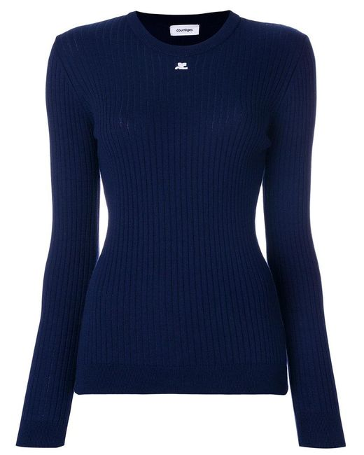 Courreges - Blue Slim-fit Ribbed Sweatshirt - Lyst