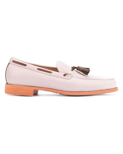 Loveless - Pink Contrast Piped Loafers for Men - Lyst