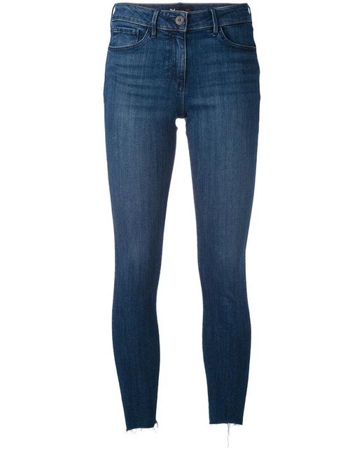 3x1 | Blue Frayed Cropped Jeans | Lyst