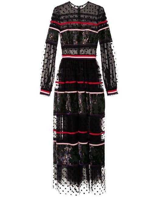 Costarellos - Black Polka Dot Panel Gown - Lyst