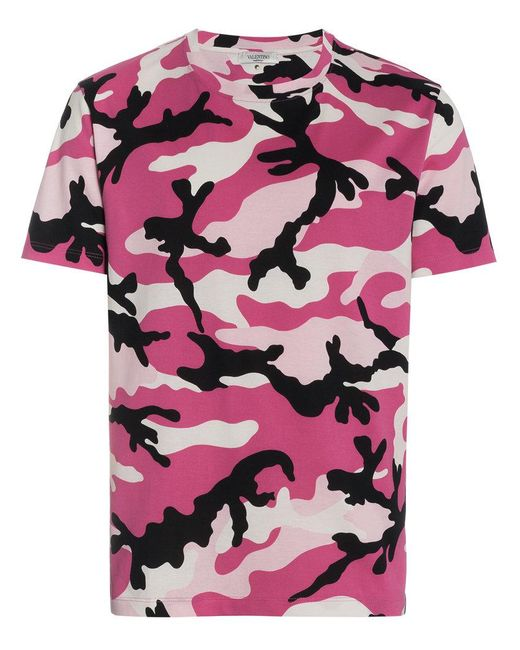 Valentino - Pink Camouflage Print Cotton Short Sleeve T Shirt for Men - Lyst