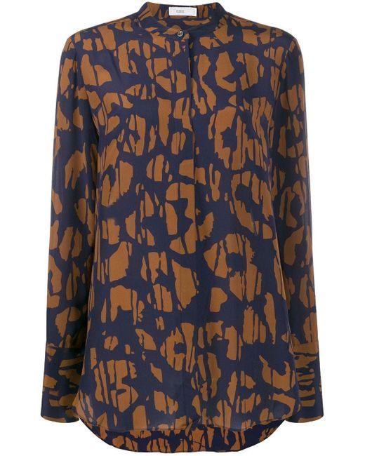 Closed Blue Abstract-print Collarless Shirt