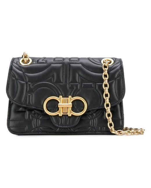 30a16ea4c914 Lyst - Ferragamo Large Quilted Leather Shoulder Bag in Black - Save 28%