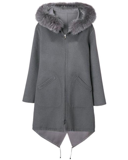 Manzoni 24 - Gray Hooded Longsleeved Coat - Lyst