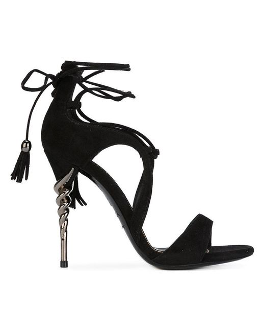 Le Silla   Black Tassel Tie Sandals   Lyst