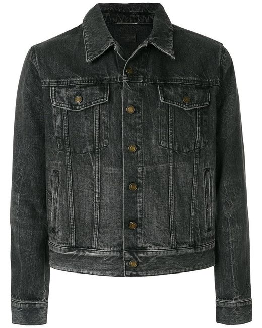 642fed859 Saint Laurent - Black Denim Sunset Patch Jacket for Men - Lyst ...