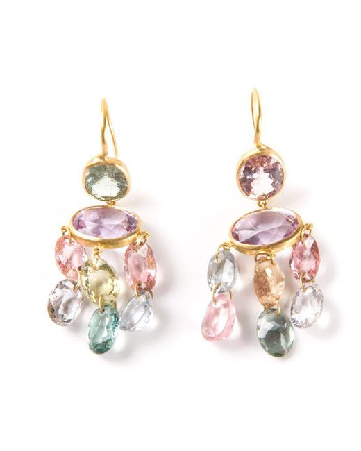 Marie-hélène De Taillac | Metallic 22kt Yellow Gold 'gabrielle' Tourmaline Earrings | Lyst