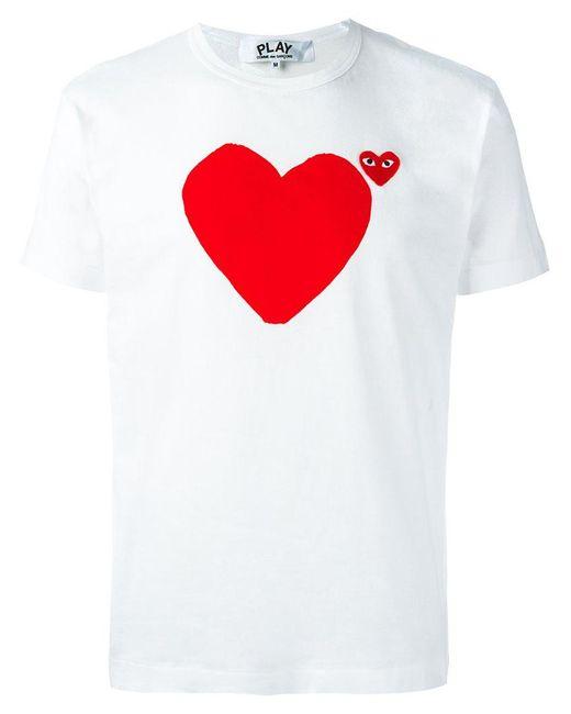Play Comme des Garçons | White Logo Print T-shirt for Men | Lyst