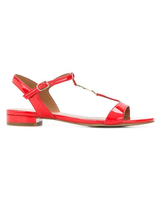Emporio Armani - Red T-bar Sandals - Lyst