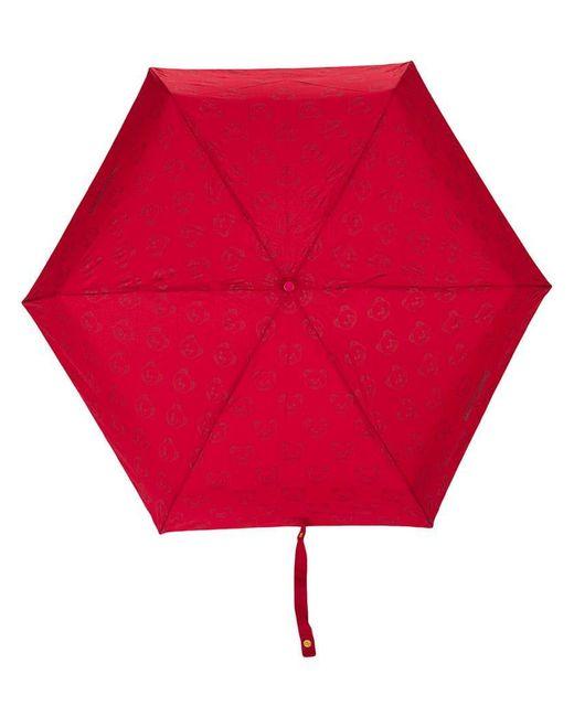 Moschino - Red Mini Logo And Bear Print Umbrella - Lyst