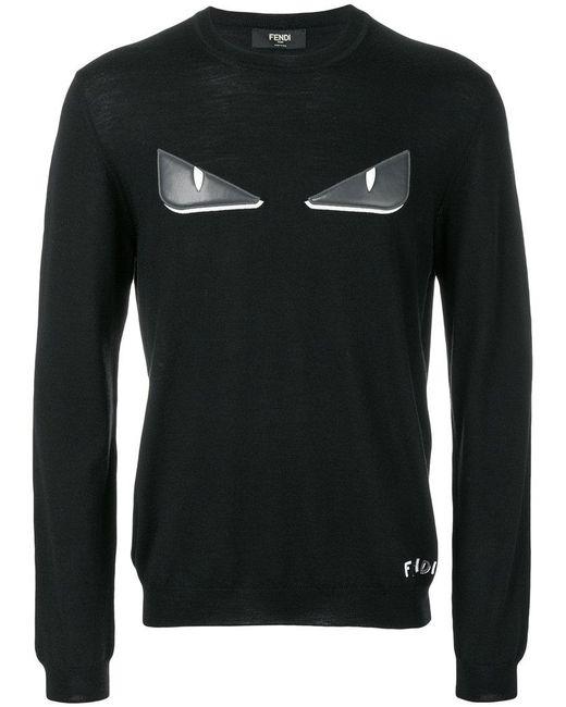 a67187a3ad21 Fendi - Black Bag Bugs-appliqué Pullover for Men - Lyst ...
