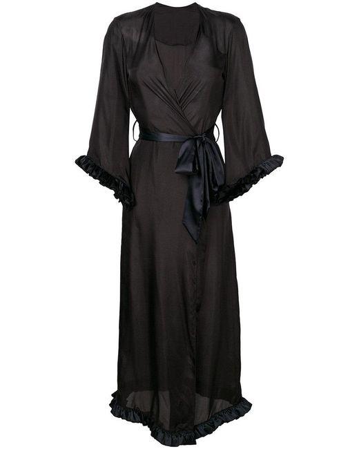 Loveday London - Black Long V-neck Night Gown - Lyst