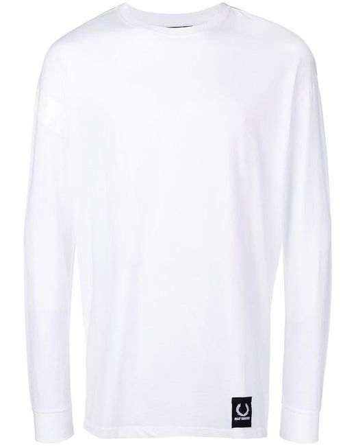 Fred Perry - White Taped Sweatshirt for Men - Lyst