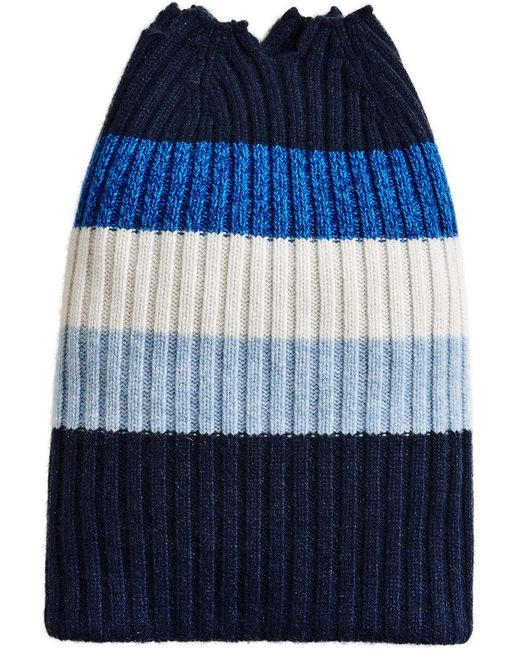 Burberry - Blue Cashmere Striped Beanie - Lyst