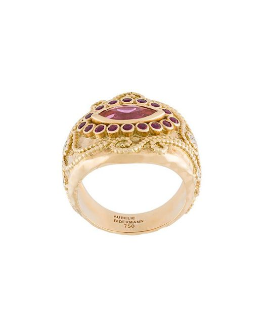 Aurelie Bidermann - Metallic 'cashmere' Rubellite, Diamond And Ruby Ring - Lyst