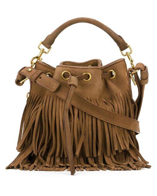 Saint Laurent - Brown Small Emmanuelle Suede Bucket Bag - Lyst
