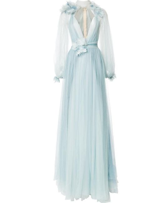 Marchesa | Blue Billowing Floral Detail Gown | Lyst