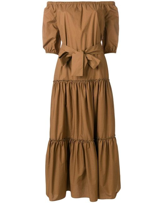 Roberto Collina - Brown Off-the-shoulders Long Dress - Lyst