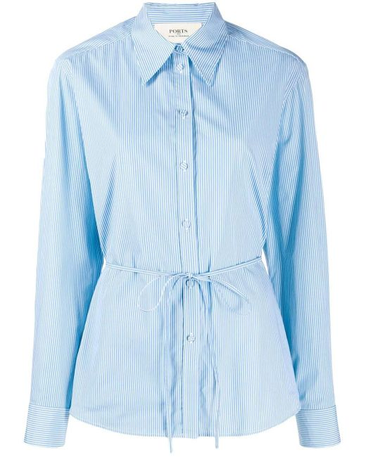 Ports 1961 Blue String Tie Waist Striped Shirt
