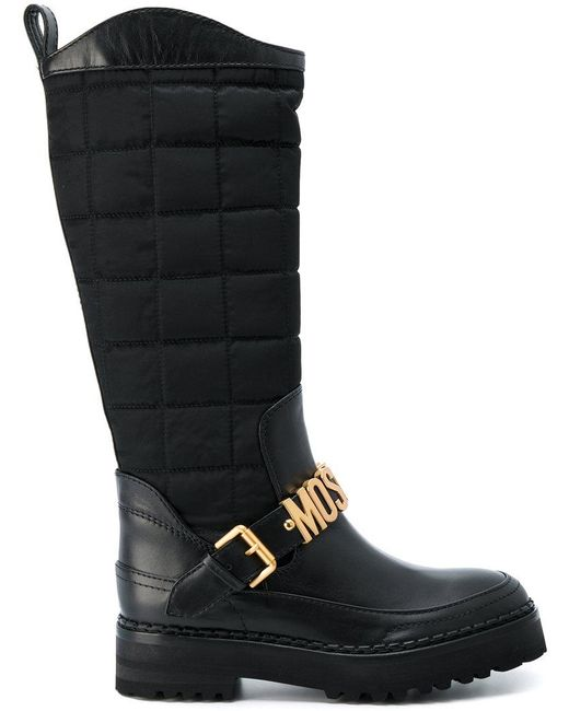 Moschino | Black Logo Buckle Boots | Lyst