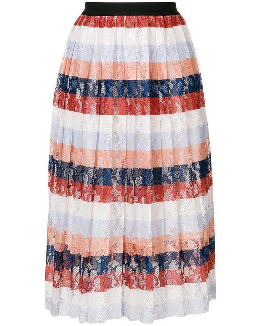 Essentiel Antwerp - Multicolor Palms Midi Pleated Skirt - Lyst