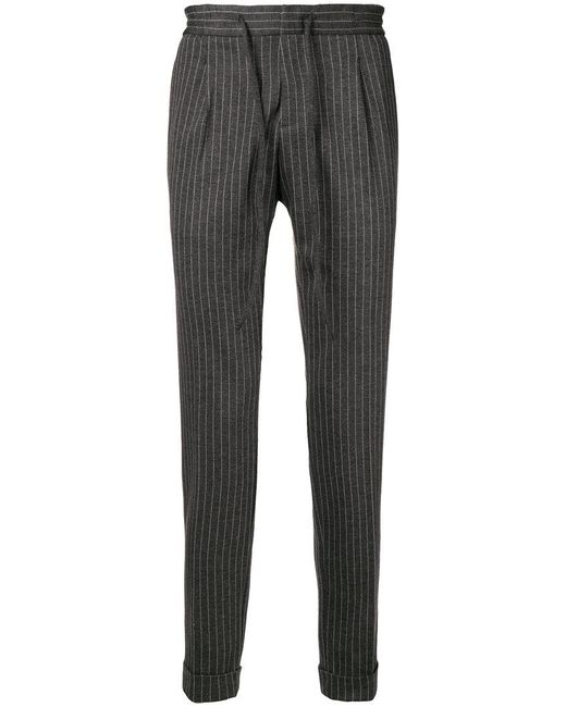 Paolo Pecora - Gray Pinstripe Tapered Trousers for Men - Lyst