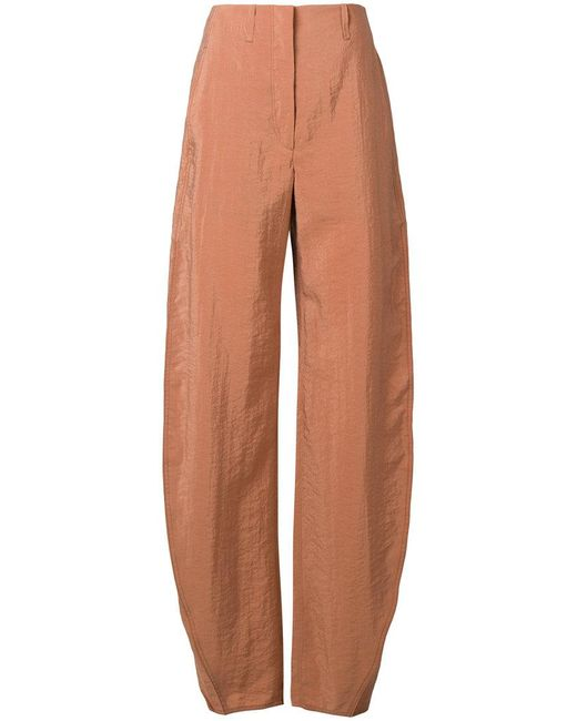 Lemaire - Brown Curved Seam Trousers - Lyst
